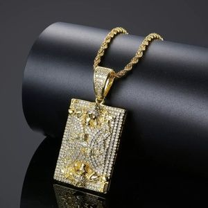 "Other - 14kGold Skull King Card Pave Pendant 24""Rope Chain"